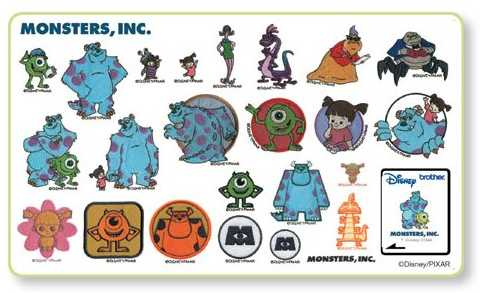 "Brother Scheda Ricamo Disney Monsters, INC. ""NUOVA"""